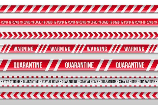 Franjas de cuarentena de advertencia en rojo y blanco realistas vector gratuito