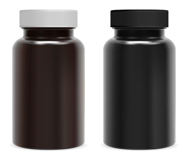Frasco de pastillas de suplemento. frasco negro brillante marrón para medicina en cápsula de vitamina. Vector Premium