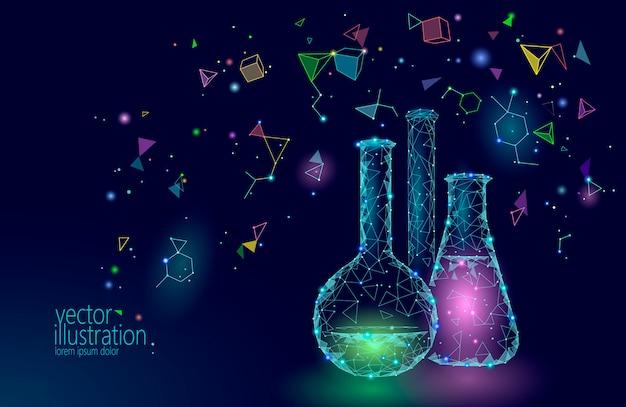 Frascos de vidrio químico de baja poli ciencia, equipo mágico Vector Premium