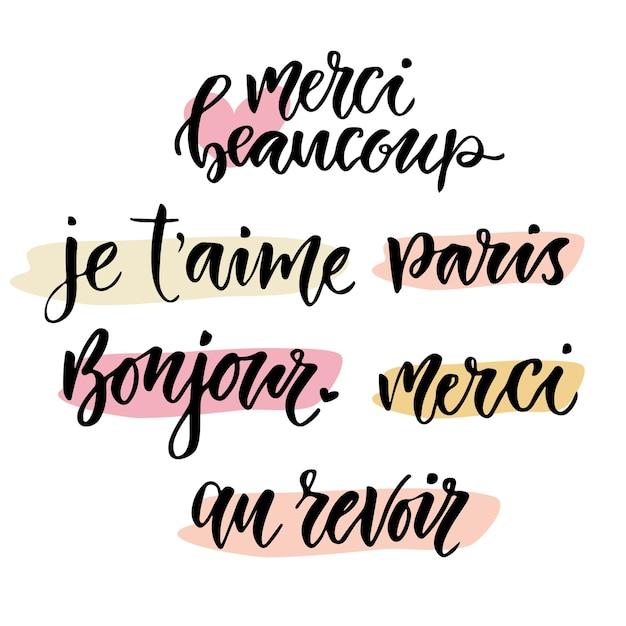 Frase Caligráfica En Francés Conjunto De Letras