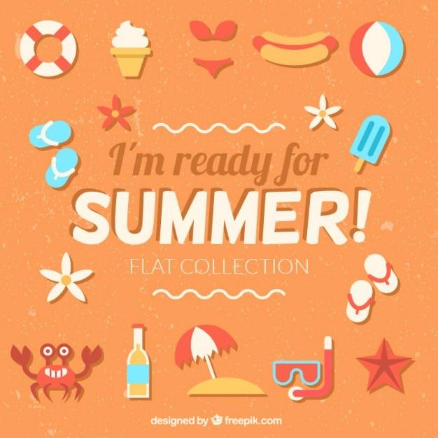 Frase Estoy Preparado Para El Verano Con Elementos Planos De