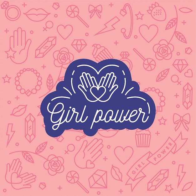 Frases de letras a mano relacionadas con el poder femenino y el movimiento feminista. Vector Premium