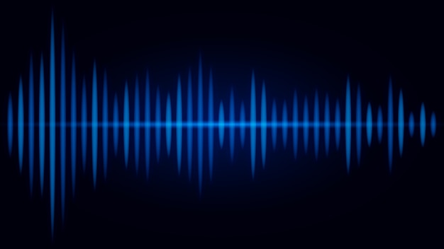 Frecuencia azul de la onda de sonido sobre fondo negro. ilustración sobre visual de audio. Vector Premium