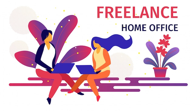 Freelance home office lugar de trabajo horizontal. Vector Premium
