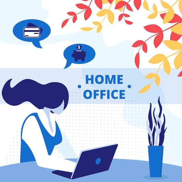 Freelance home office workplace square banner. Vector Premium