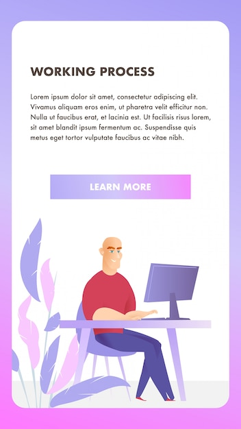 Freelancer character working process mobile banner Vector Premium