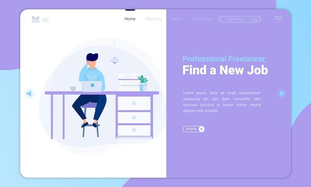 Freelancer de diseño plano, encuentre nuevas ilustraciones de trabajo en la plantilla de página de destino Vector Premium