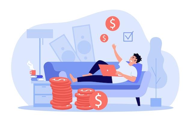 Freelancer exitoso feliz trabajando y ganando dinero en casa. Vector Premium