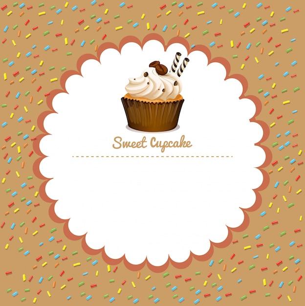 Frontera con cupcake de café vector gratuito