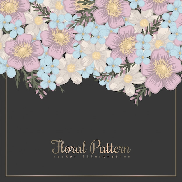 Frontera de diseños florales - flores de primavera vector gratuito