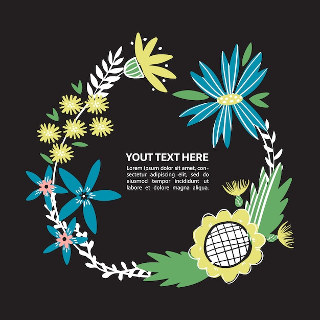 Frontera floral con flores dibujadas a mano. lugar de corona de flores silvestres para su texto. marco de texto colorido doodle para póster, artículo, invitación, baby shower, tarjeta. Vector Premium