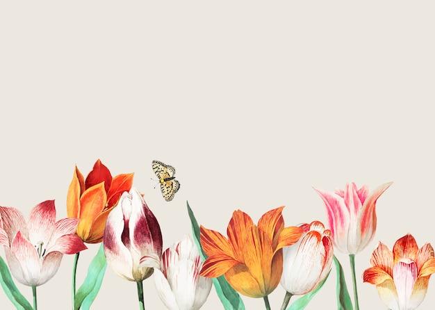 Frontera de tulipanes vintage decoración y espacio de copia vector gratuito