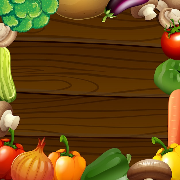 Frontera de verduras en marco de madera vector gratuito