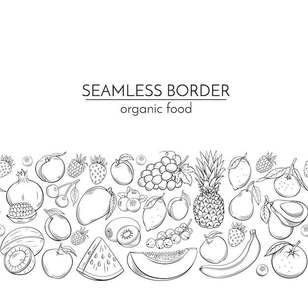 Fronteras sin costuras con frutas dibujadas a mano Vector Premium
