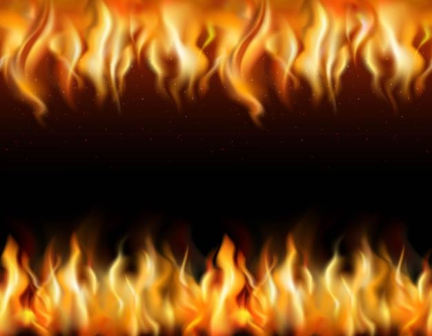 Fronteras realistas enlosables de fuego en fondo negro vector gratuito