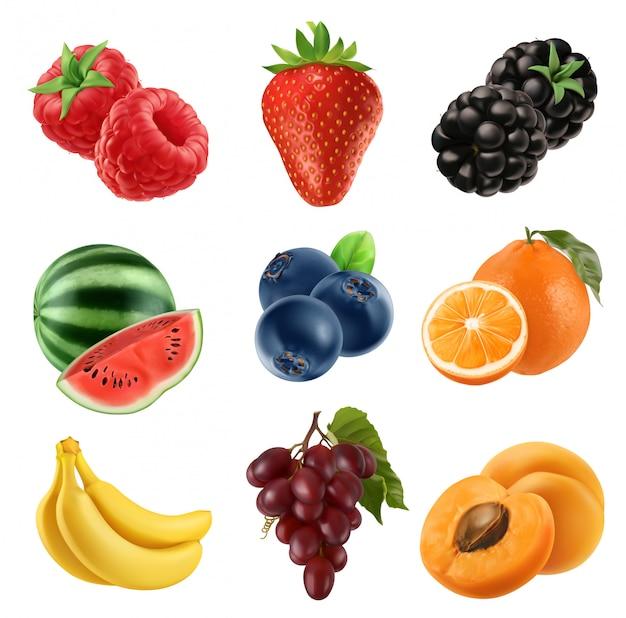 Fruta fresca. conjunto de iconos 3d ilustración realista Vector Premium
