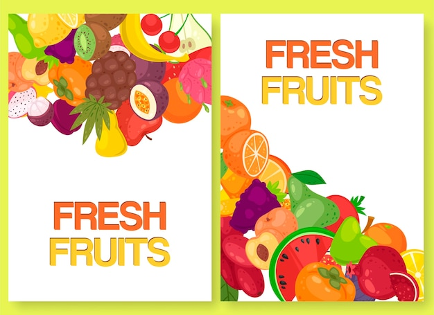 Fruta fresca para el mercado agrícola conjunto de banners. Vector Premium