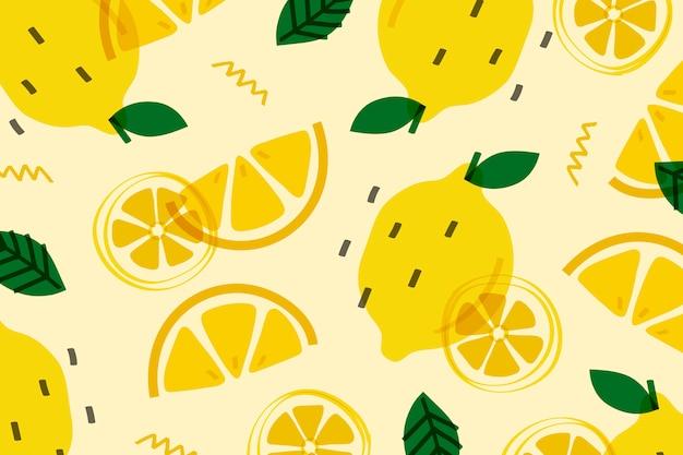 Fruta del limón al estilo memphis. vector gratuito