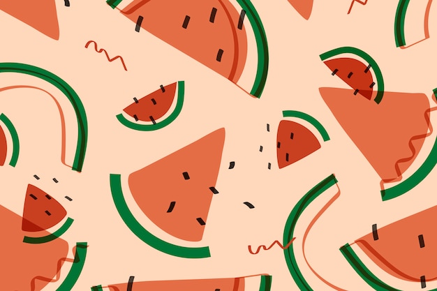 Fruta de sandía al estilo memphis. vector gratuito