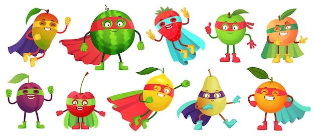Fruta de superhéroe súper manzana, baya y naranja en traje de capa de héroe. conjunto de ilustración de dibujos animados de alimentos saludables de superhéroes de jardín Vector Premium