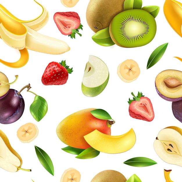 Frutas bayas de patrones sin fisuras vector gratuito