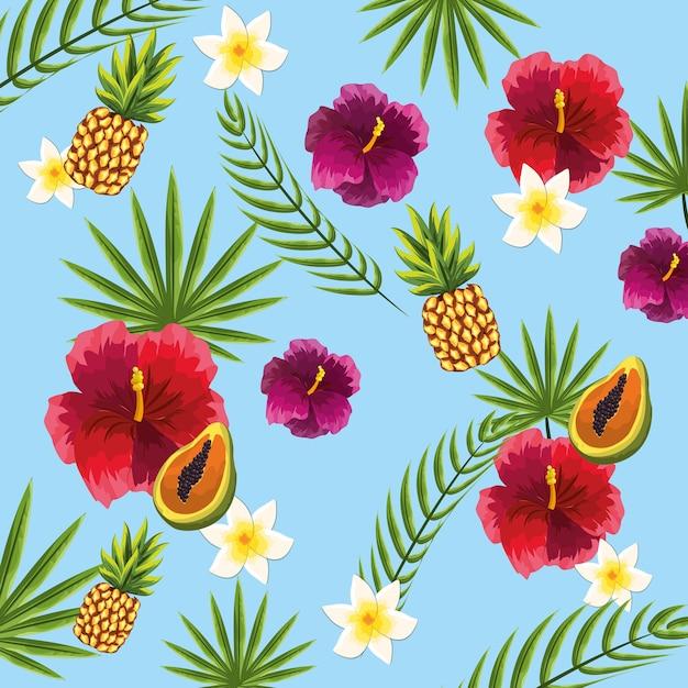 Frutas Bonitas Y Exoticas Flores Y Fondo Vegetal Descargar