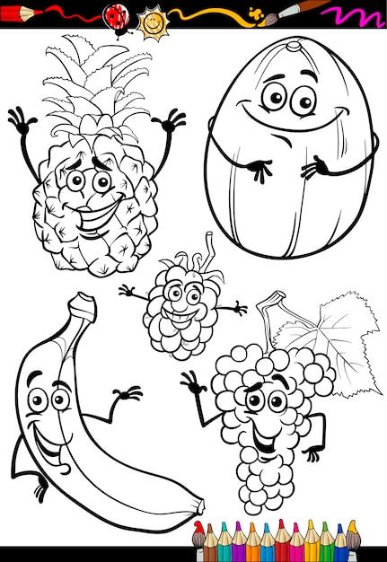 Frutas de dibujos animados para colorear libro   Descargar Vectores ...