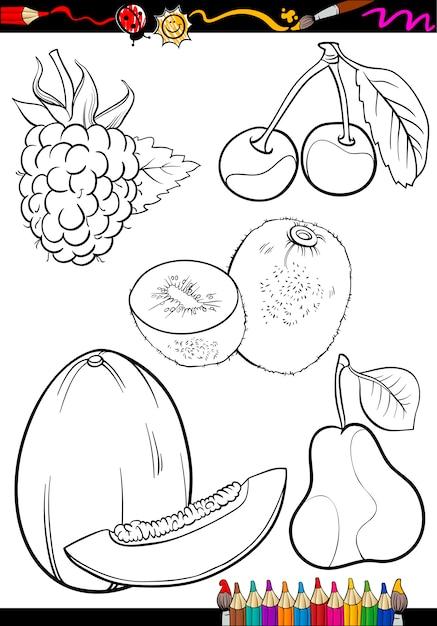 Frutas De Dibujos Animados Para Colorear Libro Vector Premium