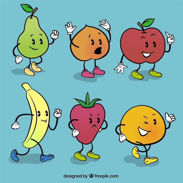 frutas de dibujos animados descargar vectores gratis