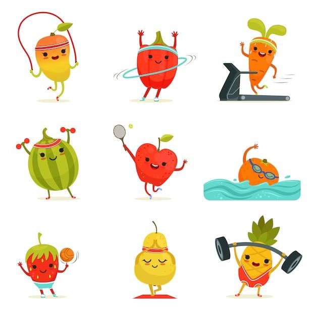 Las frutas divertidas hacen ejercicios de fitness. Vector Premium