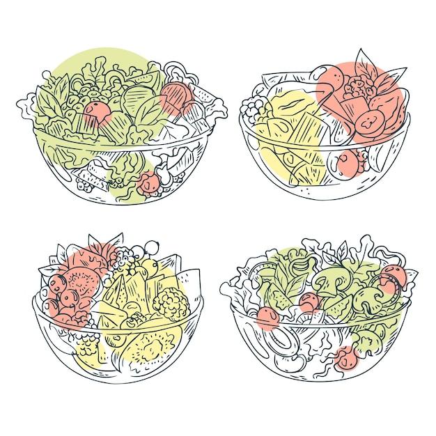 Frutas y ensaladeras diseño dibujado a mano vector gratuito