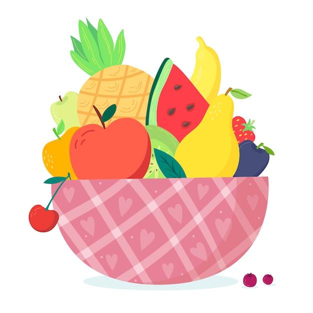 Frutas y ensaladeras de diseño dibujado a mano Vector Premium