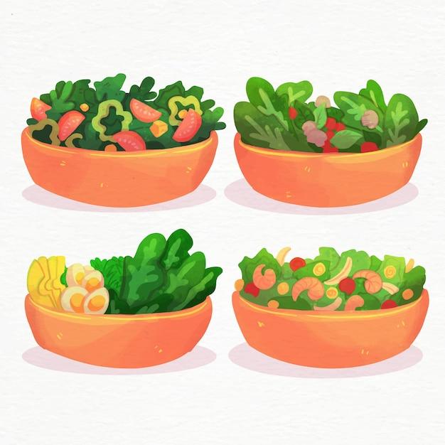 Frutas y ensaladeras estilo acuarela vector gratuito