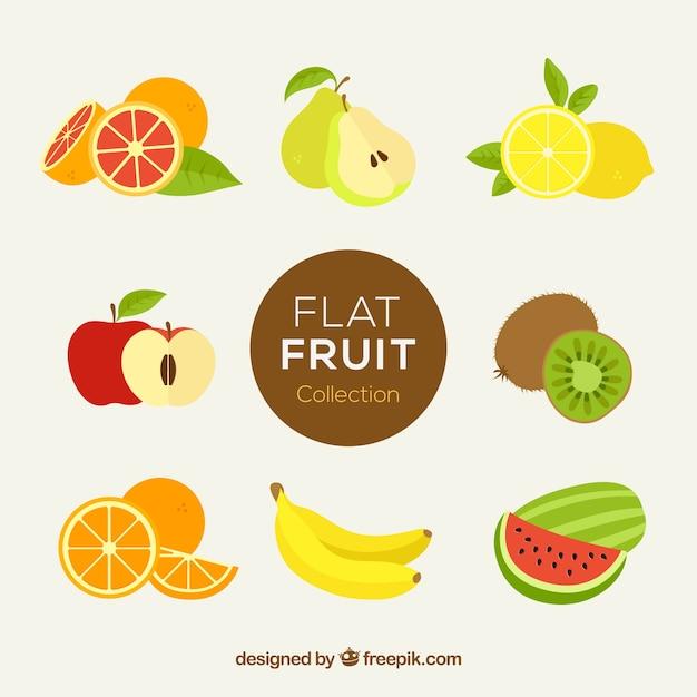 Frutas fantásticas en diseño plano vector gratuito