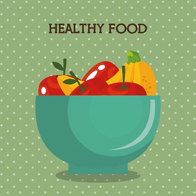 Frutas frescas comida sana vector gratuito