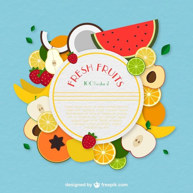 Frutas frescas etiqueta Vector Premium