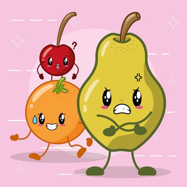 Frutas kawaii con diferentes expresiones felices, pera, naranja y cereza vector gratuito
