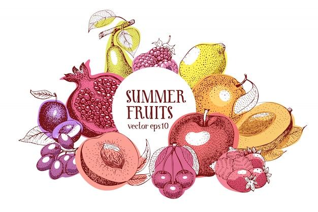 Frutas mano dibujado vector marco. plantilla de banner Vector Premium