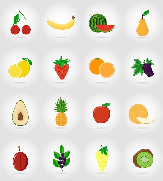 Frutas planas iconos con la sombra. Vector Premium
