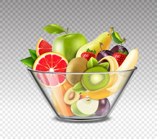 Frutas realistas en un tazón de vidrio vector gratuito