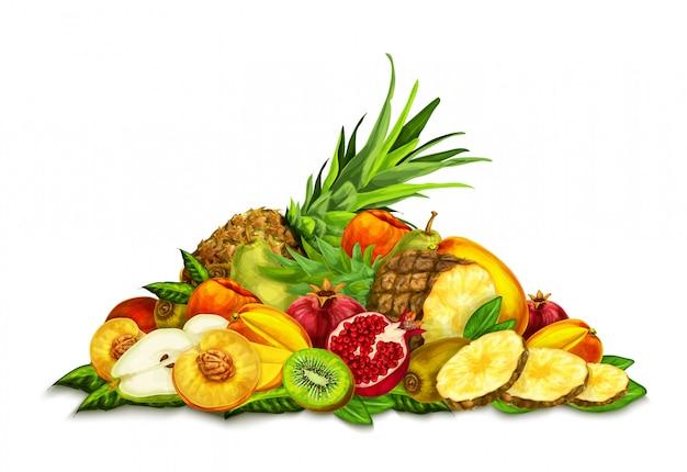 Frutas tropicales establecer la naturaleza muerta vector gratuito
