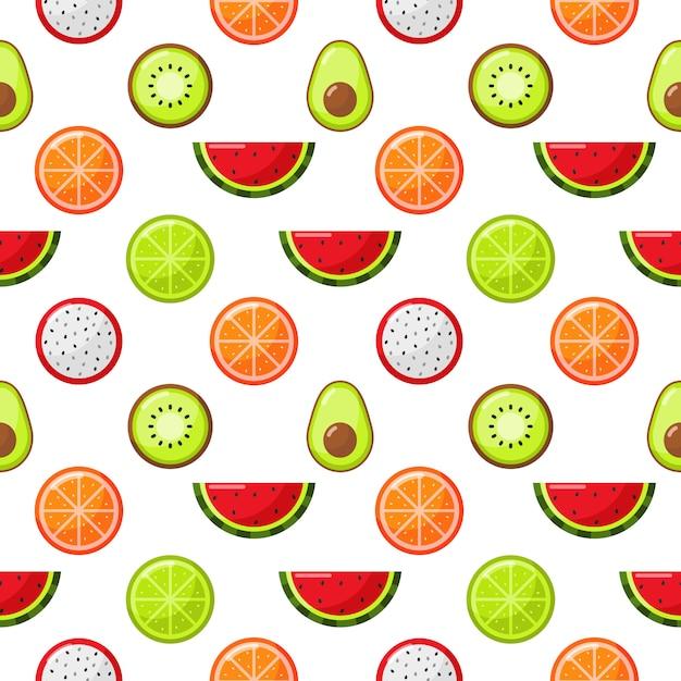 Frutas tropicales de patrones sin fisuras aislar en blanco Vector Premium