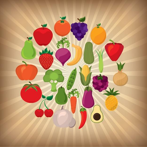 Frutas y vegetales vector gratuito