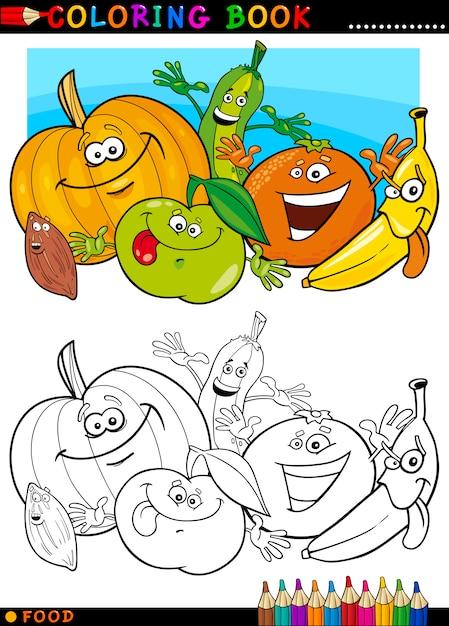 Frutas Y Verduras Para Colorear Vector Premium
