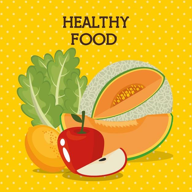 Frutas y verduras comida sana vector gratuito