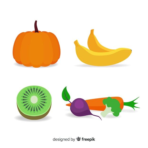 Frutas y verduras en diseño plano vector gratuito