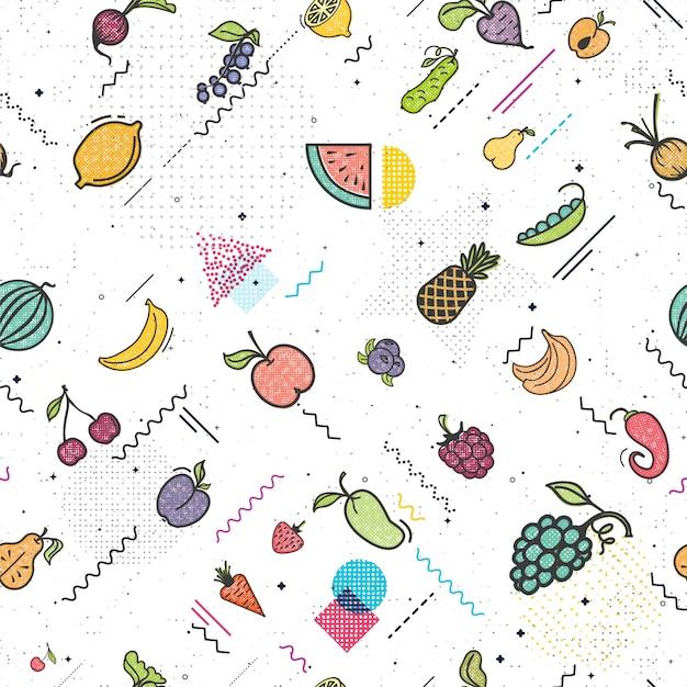 Frutas y verduras de patrones sin fisuras estilo memphis. Vector Premium