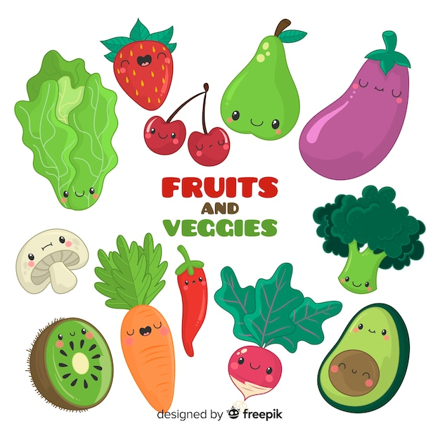 Frutas y verduras vector gratuito
