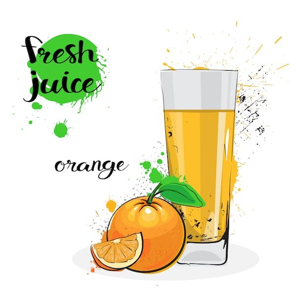 Frutas y vidrio dibujados a mano frescos de la acuarela del zumo de naranja en el fondo blanco Vector Premium