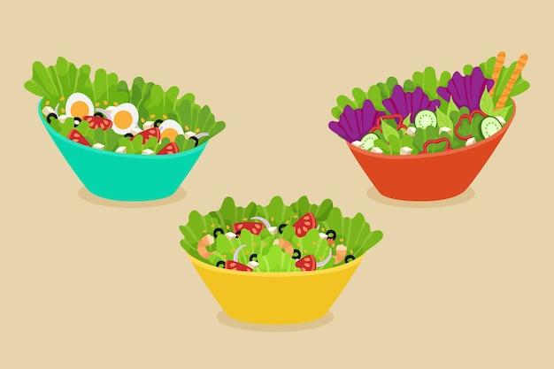 Fruteros y ensaladeras vector gratuito